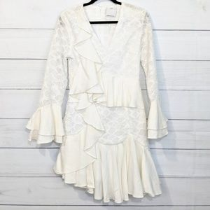 New C/MEO Collective White Ruffle Dress L D23